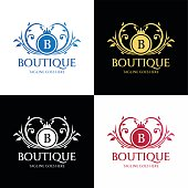 Boutique logo design template.  Luxury logo design concept. Vector illustration