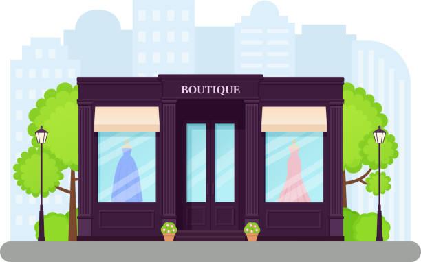 illustrations, cliparts, dessins animés et icônes de devanture de magasin boutique. illustration vectorielle au design plat. - vitrine magasin