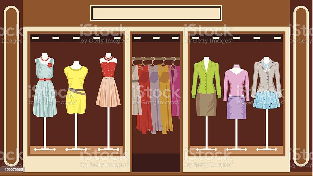 Boutique. Women's clothing shop vector art illustration