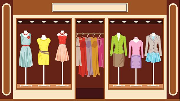 illustrations, cliparts, dessins animés et icônes de boutique. boutique de vêtements pour femmes - vitrine magasin