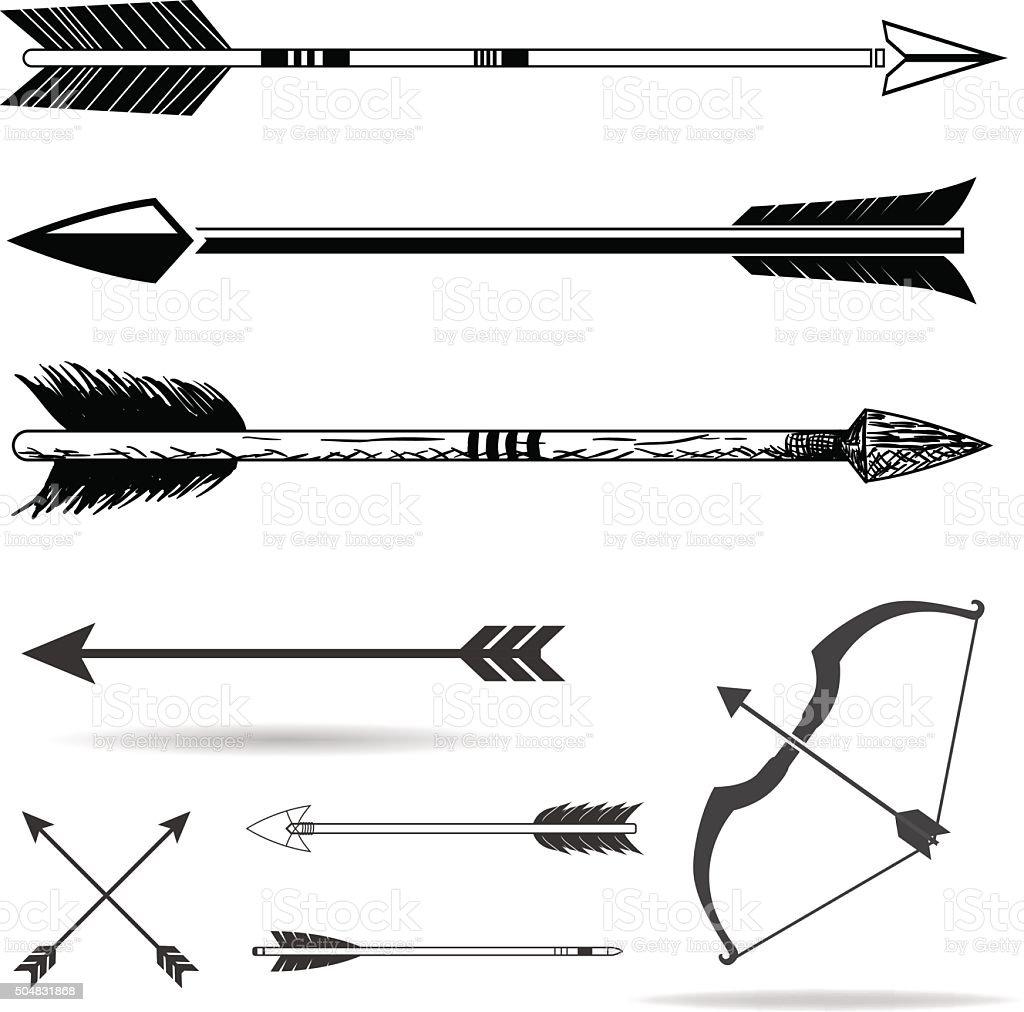 Bow arrows vector art illustration
