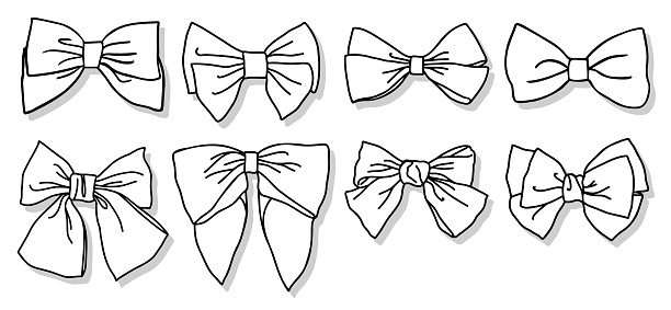 Bow collection. Hand drawn, doodled vector illustration bundle.