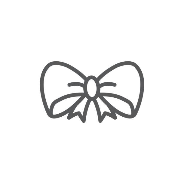 흰색 배경의 활 선 아이콘 - 머리 리본 stock illustrations
