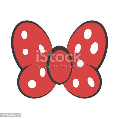 istock Bow red butterfly, vector hair decoration meme red bow white dot polka 1297434769