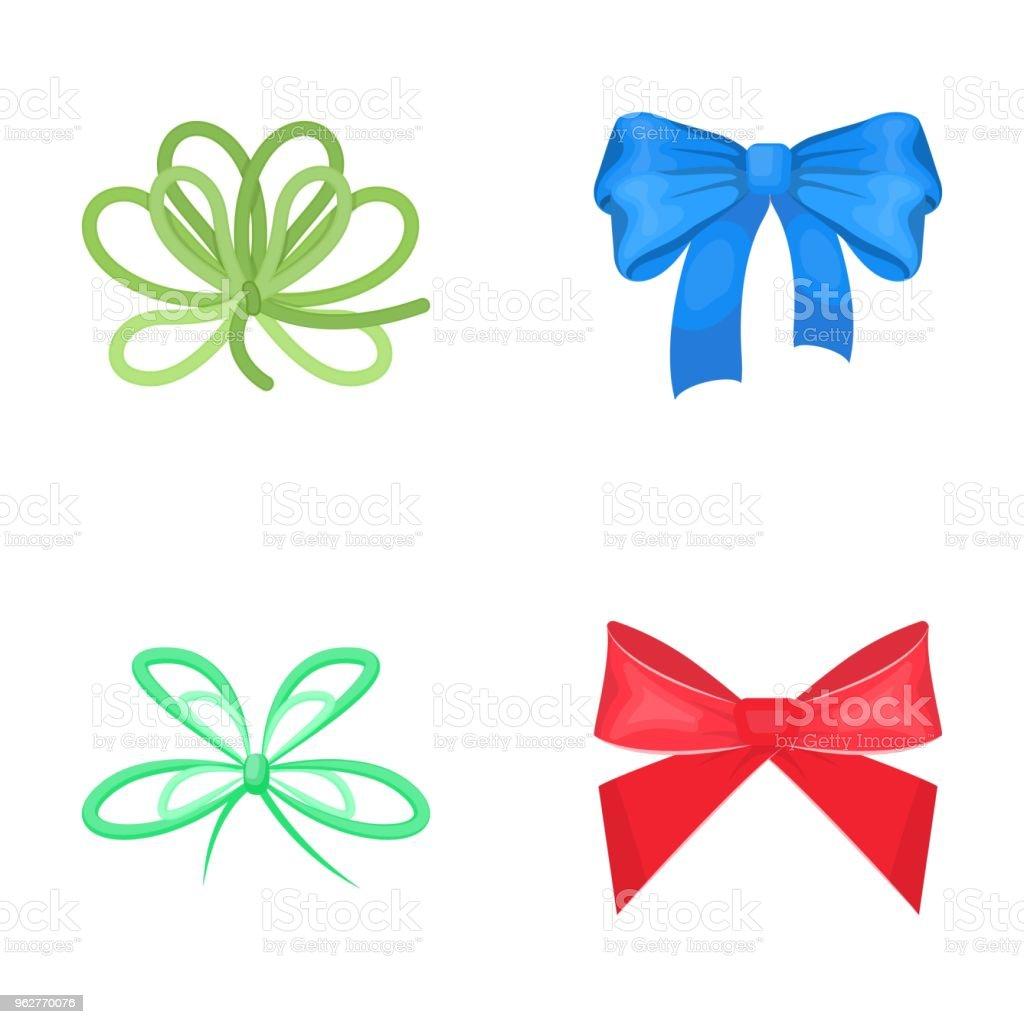 Arco, fita, decoração e outro ícone da web no estilo cartoon. Presente, arcos, nó, ícones na coleção definida. - Vetor de Azul royalty-free