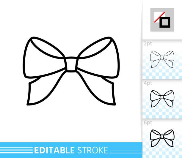 활 리본 선물 장식 단일 얇은 라인 벡터 아이콘 - 머리 리본 stock illustrations