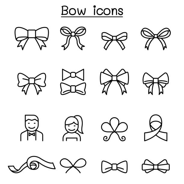 Bow & Ribbon icon set in thin line style vector art illustration