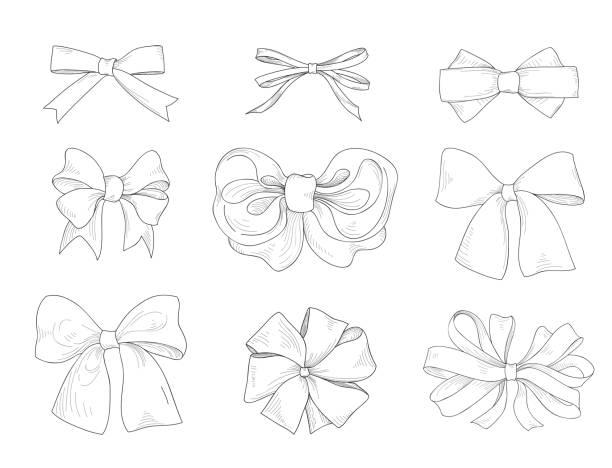 bogen setzen. mode accessoires sign. weihnachtsgeschenke - hochzeitsanstecker stock-grafiken, -clipart, -cartoons und -symbole