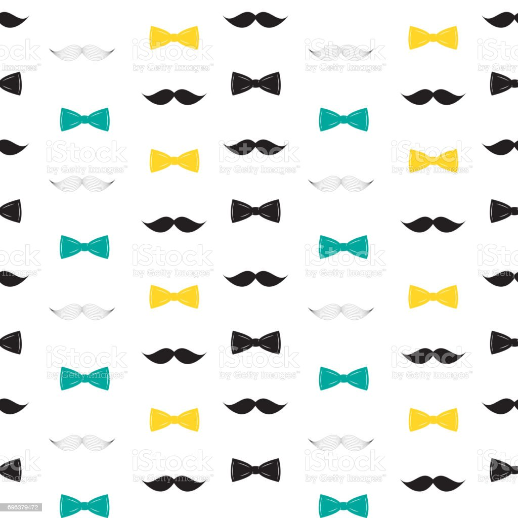 bow tie and mustache seamless pattern father s day