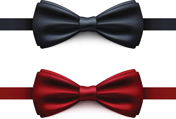 Bow Tie Black and Red Vector Bow Tie. Black and red bow tie. Vector Illustration EPS10 transparency effect. tuxedo stock illustrations