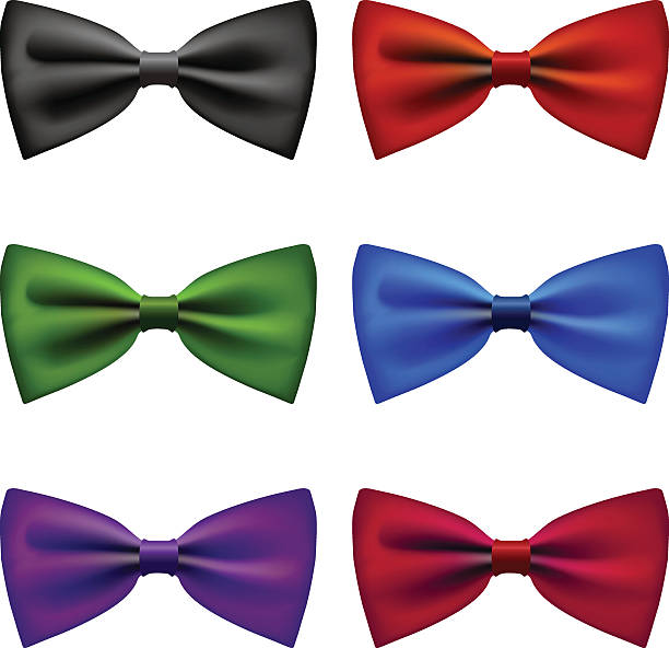 Bow tie colors vintage set vector art illustration