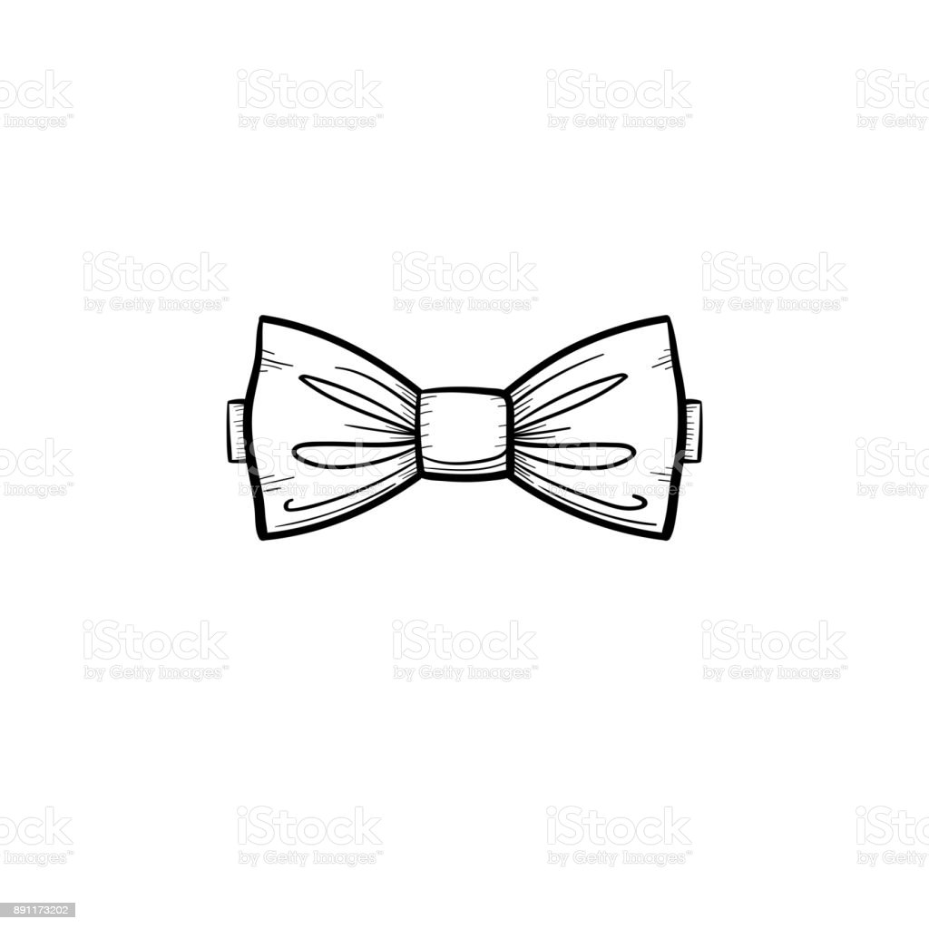 Bow tie hand drawn sketch icon vector art illustration