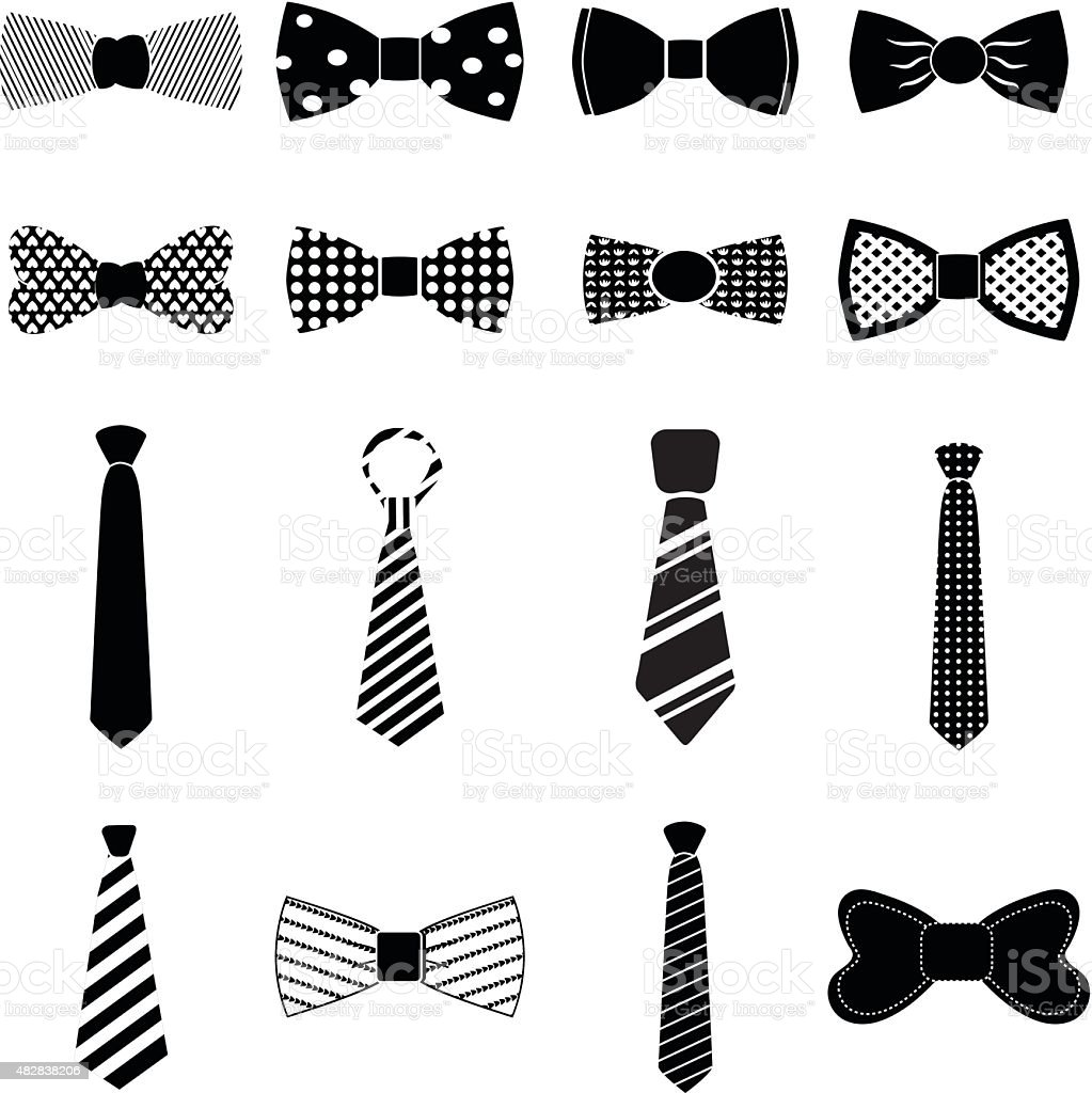 Bow tie icons set vector art illustration