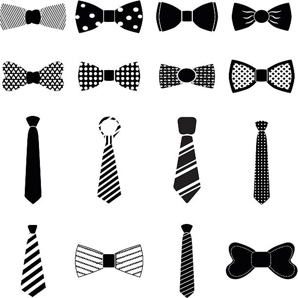 bow tie icons set - tie stock illustrations, clip art, cartoons, & icons
