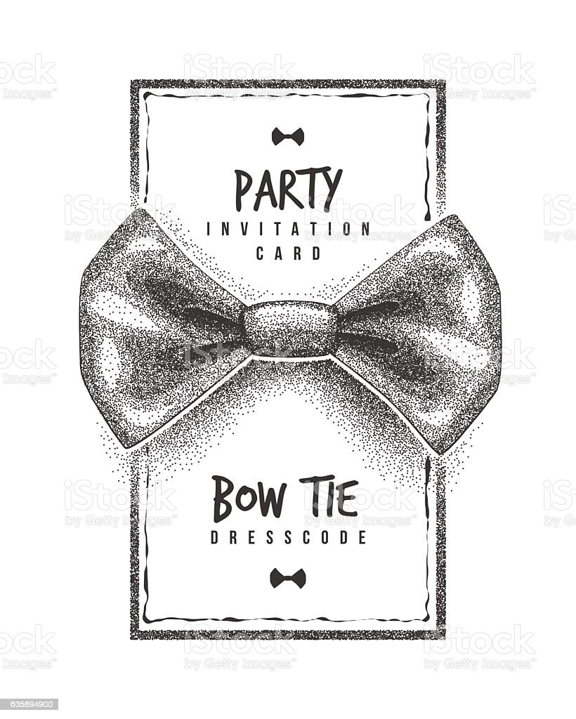 Bow Tie Party Invitation Card Of Dress Code Message stock vector ...