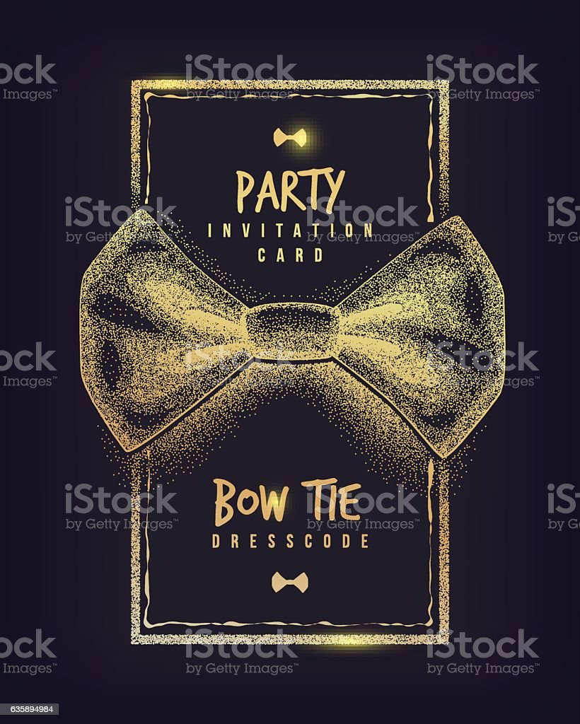 Bow Tie Party Invitation Card Of Dress Code Message Stock Vector Art ...
