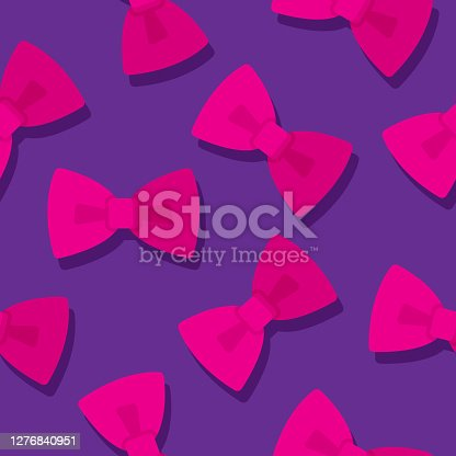 Vector illustration of pink bow ties in a repeating pattern against a purple background.