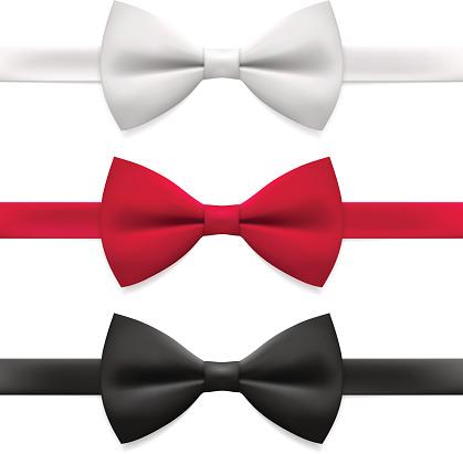 Bow tie. Tying, necktie, formalwear, vector illustration.