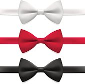 Realistic white, black and red bow tie. Tying, Necktie, Formalwear, Tuxedo vector illustration, isolated on white background.