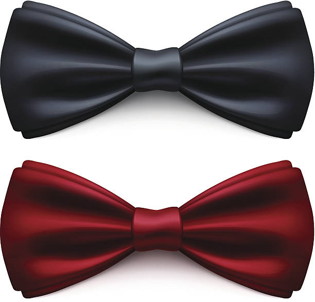 Bow Tie Vector Bow Tie. Black and red bow tie. Vector Illustration EPS10 transparency effect. tuxedo stock illustrations