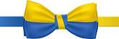 Bow tie with Ukrainian flag vector illustration.