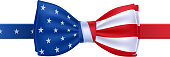 Bow tie with USA flag vector illustration.
