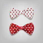 Bow ties polka dots isolated on gray background. Vector illustration.