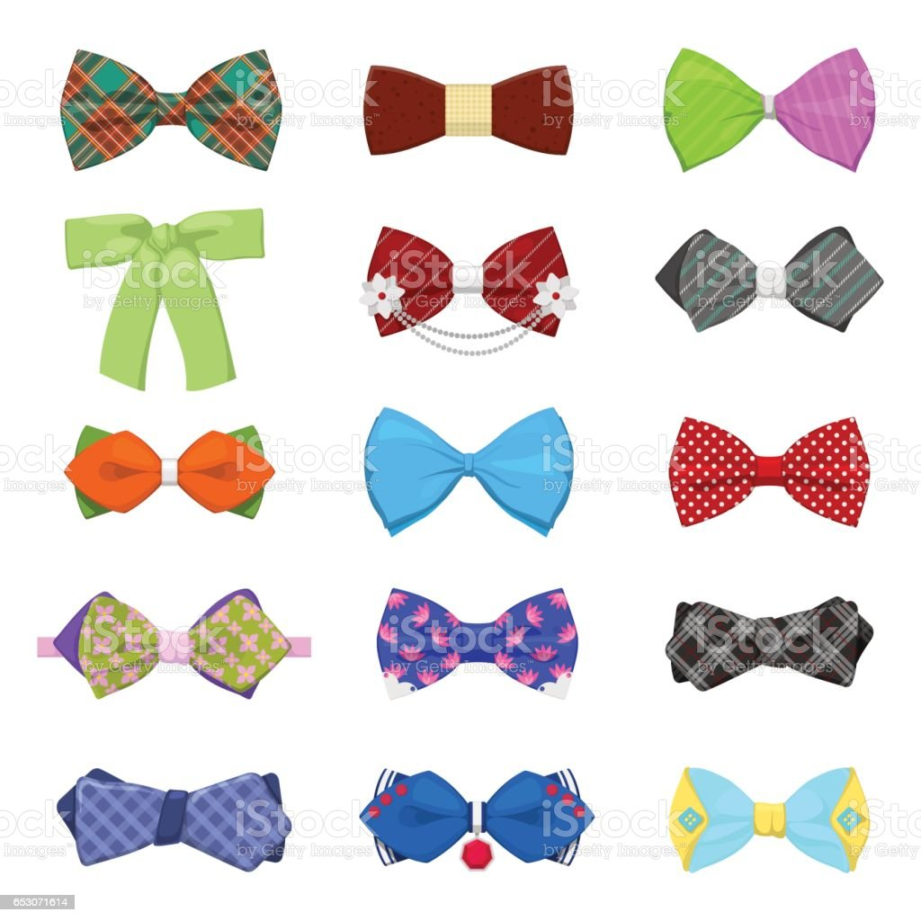 Bow Ties Set for Celebration and Party vector art illustration