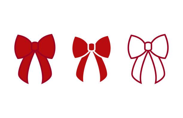 ilustrações, clipart, desenhos animados e ícones de arco - vetor ícones. arcos de vermelho. arcos de natal - ilustração vetorial plana isolado - laço
