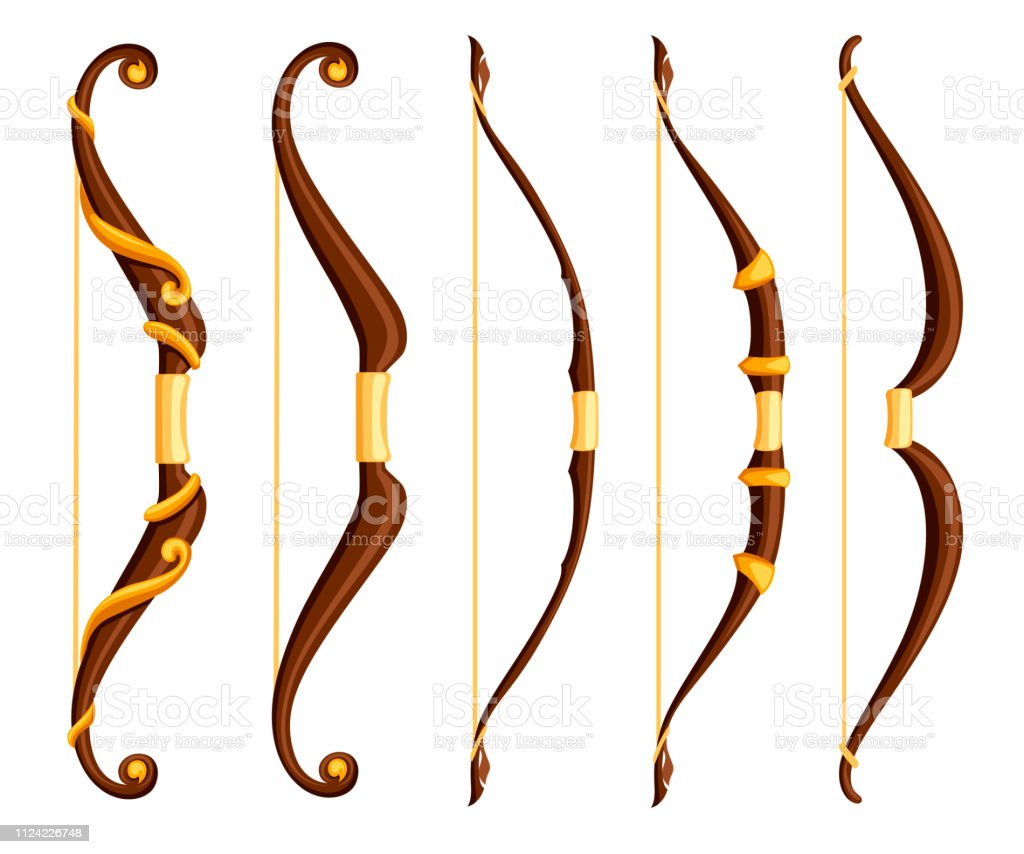 Bow Weapon Collection Brown Bows With Gold Ornaments