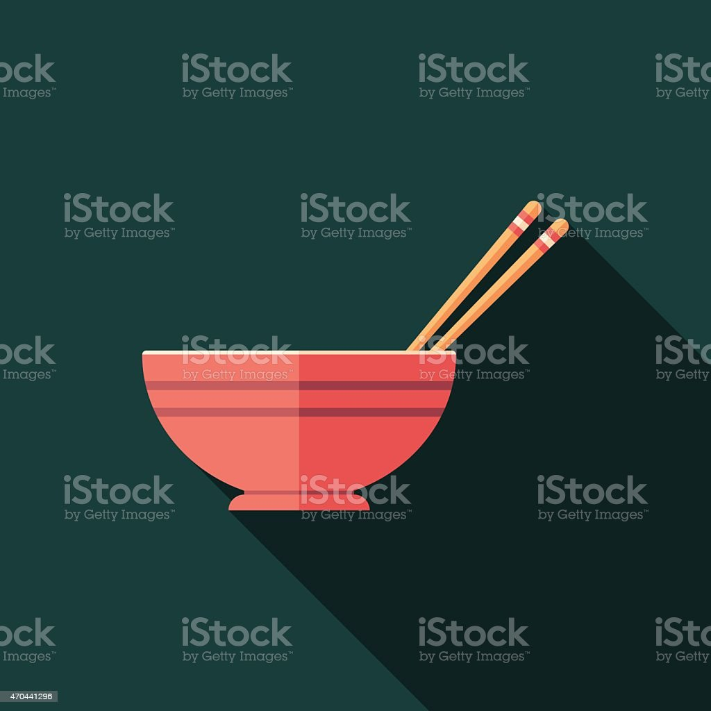 Bowl and chopsticks flat square icon with long shadows. vector art illustration