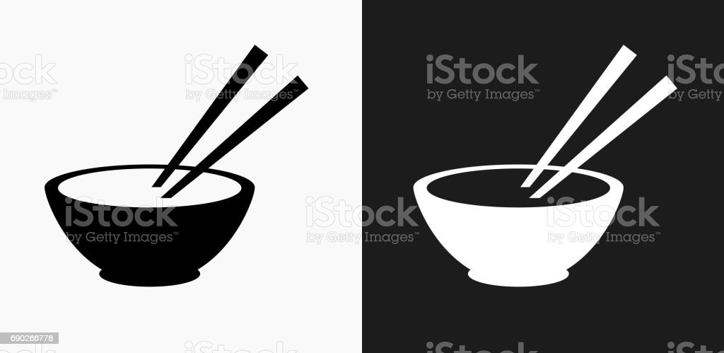 Bowl and Chopsticks Icon on Black and White Vector Backgrounds vector art illustration