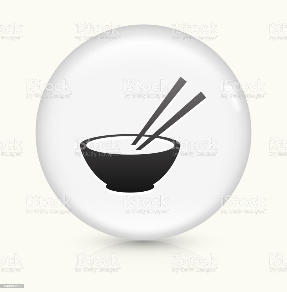 Bowl and Chopsticks icon on white round vector button vector art illustration