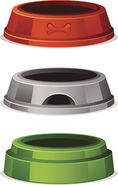 Bowl for pet food Bowl for pet food on a white background trough stock illustrations