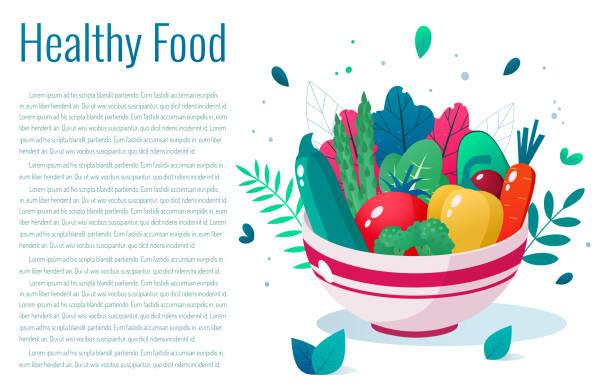 野菜たっぷりのボウル。健康的なライフスタイルのコンセプト。健康的な食事。 ベクターアートイラスト