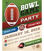 Football bowl game invitation poster with space for your information. 8.5 inches x 11 inches with .125 inch bleed. EPS 10 file. Transparency effects used on highlight elements.