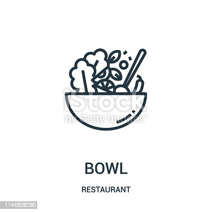 bowl icon vector from restaurant collection. Thin line bowl outline icon vector illustration. Linear symbol for use on web and mobile apps, logo, print media.