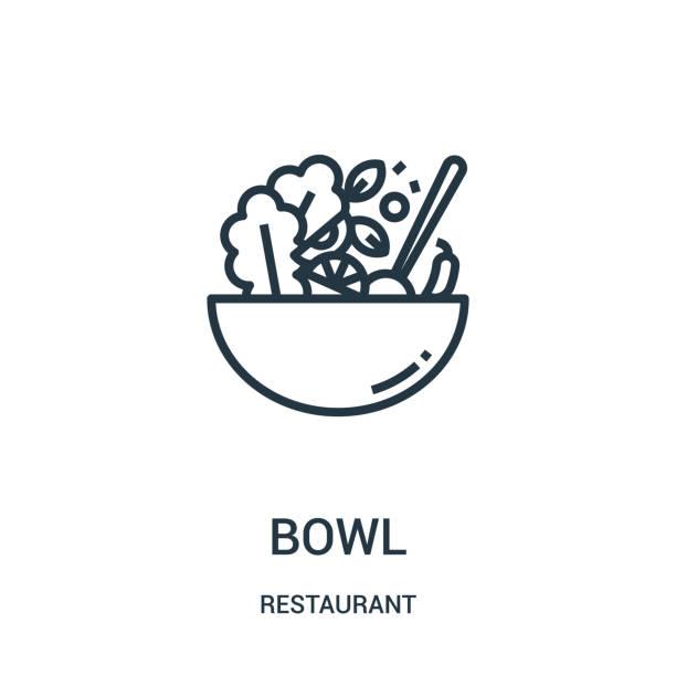 stockillustraties, clipart, cartoons en iconen met het pictogram vector van de kom van restaurant inzameling. dunne lijn bowl overzicht icoon vector illustratie. - salade