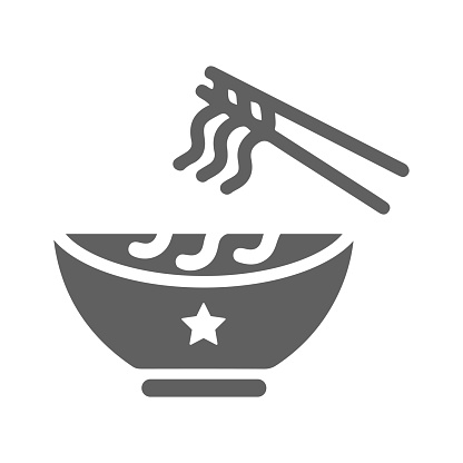 Bowl, noodles, soup icon. Gray Vector design is isolated on a white background