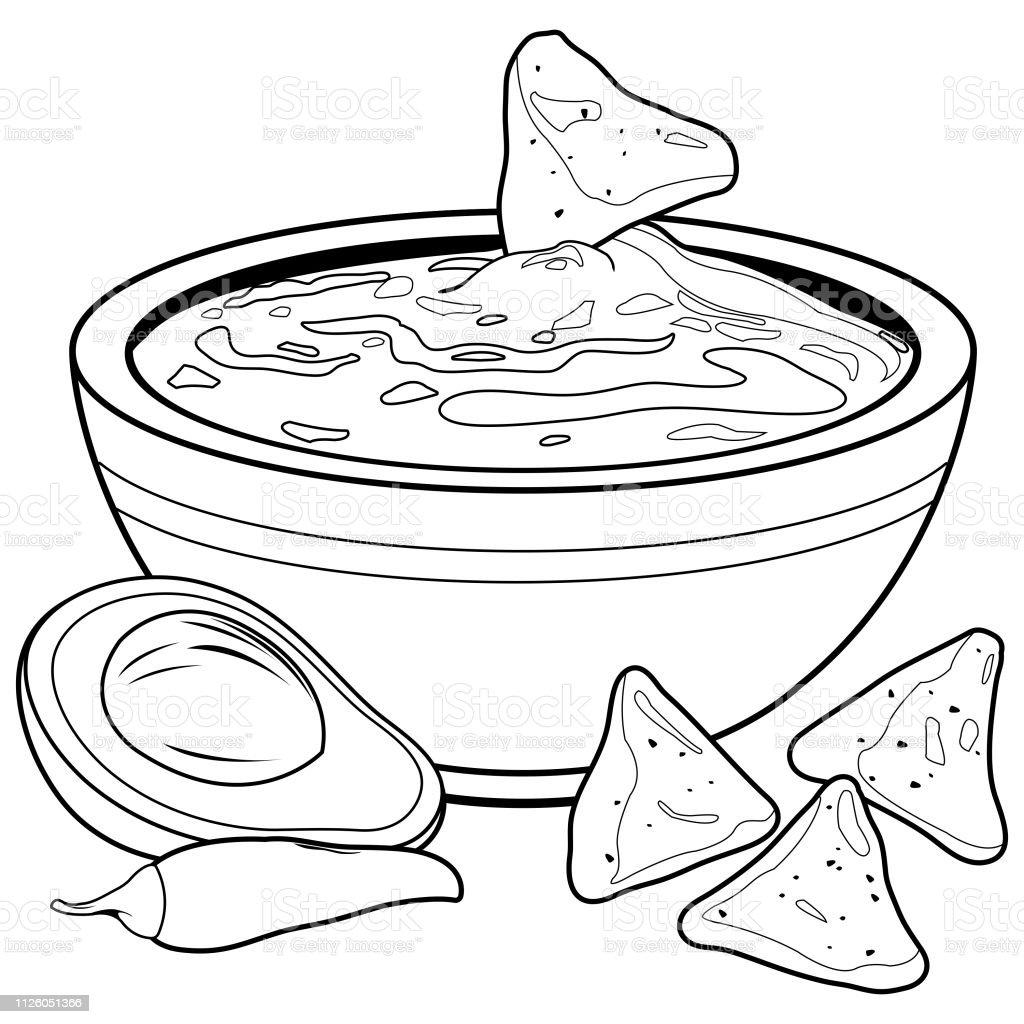 dip coloring pages | Bowl Of Avocado Guacamole And Nachos Chips Vector Black ...