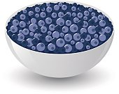 Illustration of blueberries in a bowl. EPS10 file with transparencies.