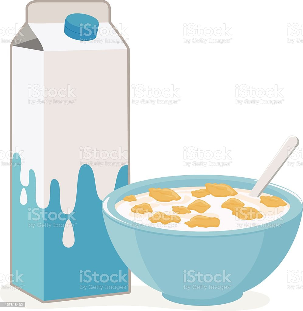 Bowl of cereal and milk vector art illustration