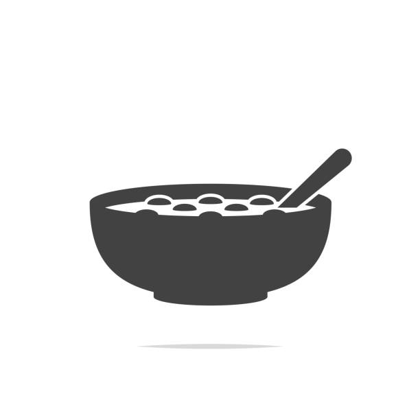ilustrações de stock, clip art, desenhos animados e ícones de bowl of cereal icon vector isolated - tigela