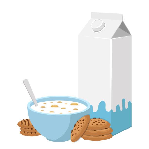 illustrazioni stock, clip art, cartoni animati e icone di tendenza di bowl of cereals with milk vector design illustration isolated on white background - corn flakes