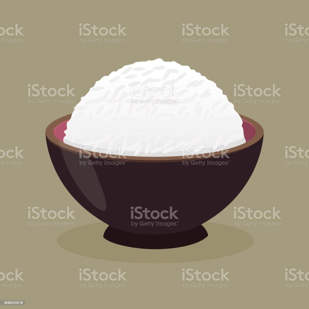 Bowl of Cooked Steamed Rice vector art illustration