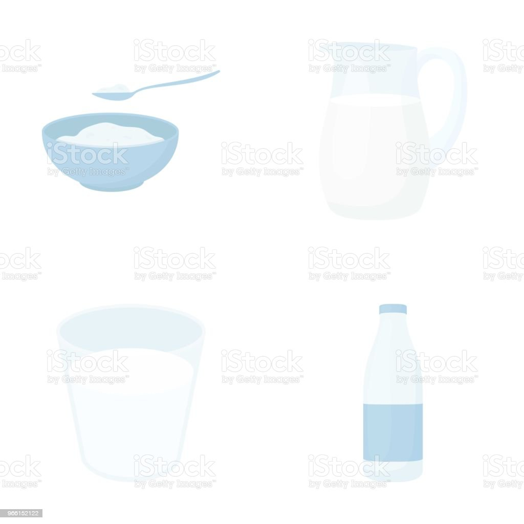 Bowl of cottage cheese, a glass, a bottle of kefir, a jug. Moloko set collection icons in cartoon style vector symbol stock illustration web. - Royalty-free Bottle stock vector
