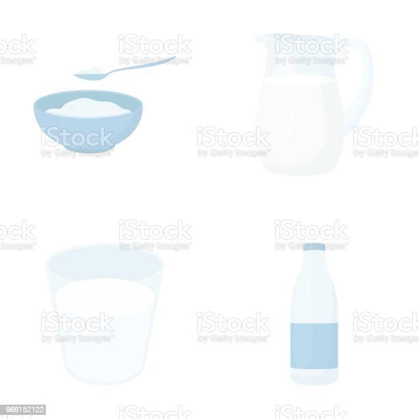 Skål Med Keso Ett Glas En Flaska Kefir En Kanna Moloko Som Samling Ikoner I Tecknad Stil Vektor Symbol Stock Illustration Web-vektorgrafik och fler bilder på Flaska