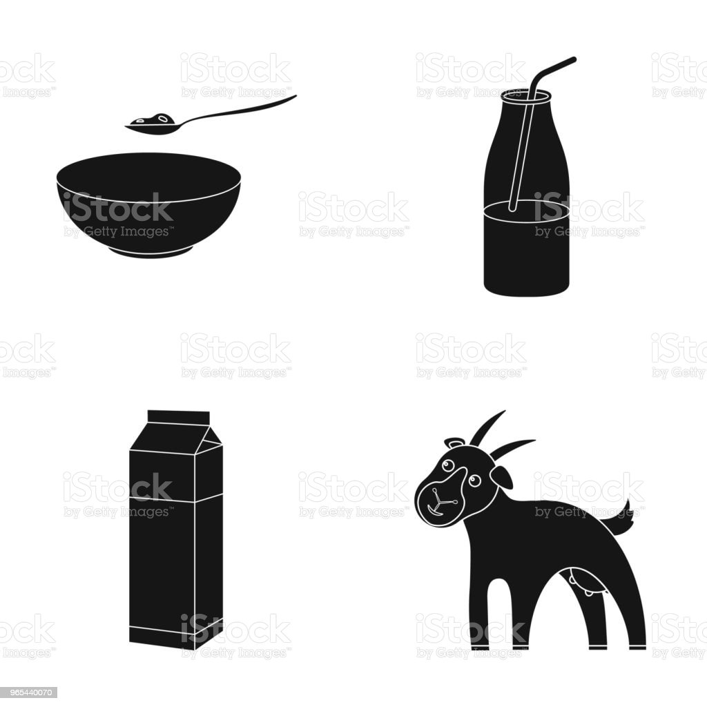 Bowl of cottage cheese, yogurt, milk package, goat. Milk set collection icons in black style vector symbol stock illustration web. royalty-free bowl of cottage cheese yogurt milk package goat milk set collection icons in black style vector symbol stock illustration web stock vector art & more images of animal
