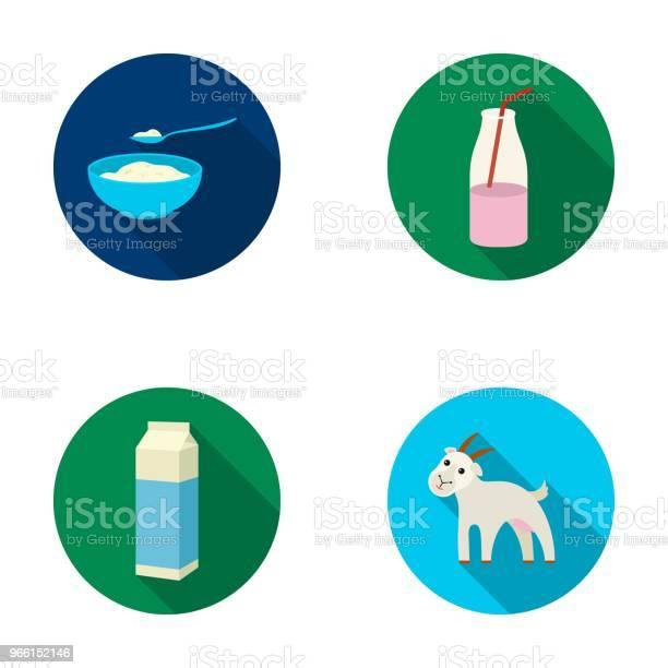 Skål Med Keso Yoghurt Mjölkpaketet Get Mjölk Som Samling Ikoner I Platt Stil Vektor Symbol Stock Illustration Web-vektorgrafik och fler bilder på Djur