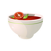istock Bowl of fresh, eco, hot tomato soup, vegan dish 1208302025